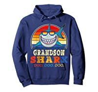 Vintage Grandson Shark T-shirt Birthday Gifts For Family Hoodie Navy