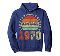 50th Birthday Gifts Retro Vintage 1970 Limited Edition T-shirt Hoodie Navy