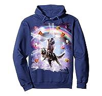 Laser Eyes Space Cat On Dinosaur - Rainbow T-shirt Hoodie Navy