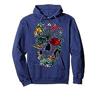 Skull Flowers Tulip Sugar Skull Tree Floral Skull Rose T-shirt Hoodie Navy