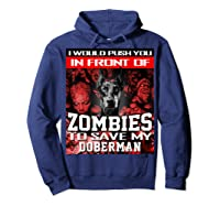 In Front Of Zombies To Save My Doberman Halloween Saying T-shirt Hoodie Navy