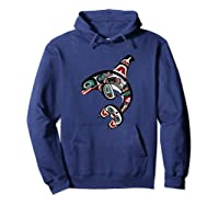 Orca Killer Whale Pacific Northwest Alaska Native American Shirts Hoodie Navy