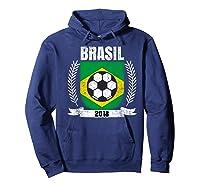 Brazilian 2018 Football Brazil Soccer Fan T-shirt Hoodie Navy