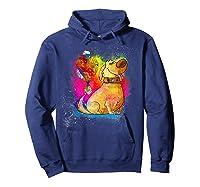 Pixar Up Dug Watercolor Rainbow Graphic Shirts Hoodie Navy