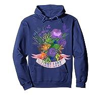 Plant Lady Shirt Gardening Gift Watercolor Flower Garden T-shirt Hoodie Navy