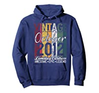 Gift For 8th Birthday October 2012 Vintage Limited Edition Premium T-shirt Hoodie Navy