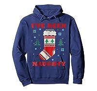 Naughty & Nice Matching T-shirts, Ugly Christmas Sweater #1 Hoodie Navy