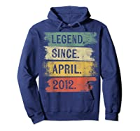 8 Year Old Gifts Legend Since April 2012 8th Birthday Shirts Hoodie Navy