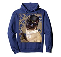 Steampunk Cat - Siamese With A Top Hat, Goggles, And Gears T-shirt Hoodie Navy