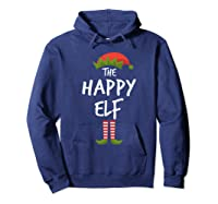Happy Elf Matching Family Christmas Group Party Pajama Shirts Hoodie Navy
