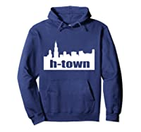 Houston Texas Skyline Print H-town Pullover Shirts Hoodie Navy