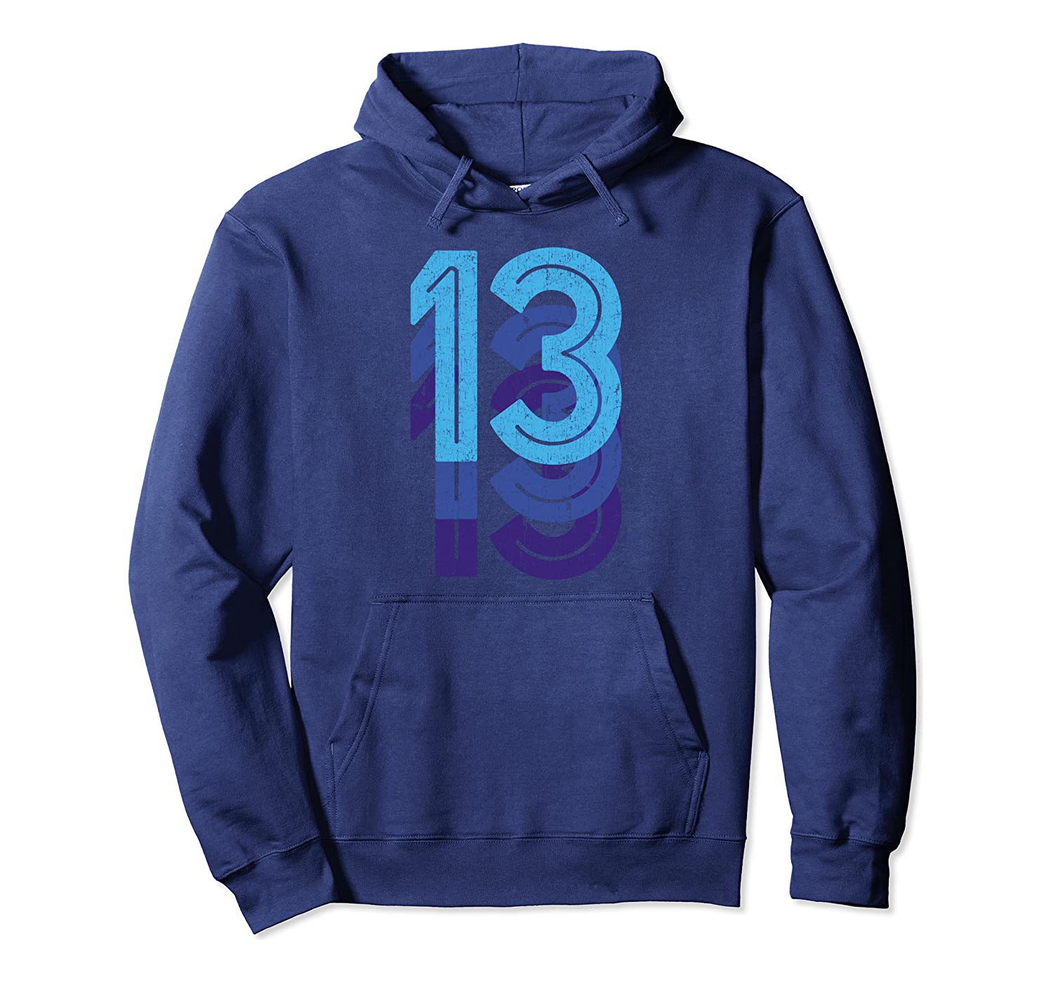 13 Lucky Number 13th Year Birthday Age Sports Team Vintage Pullover Hoodie