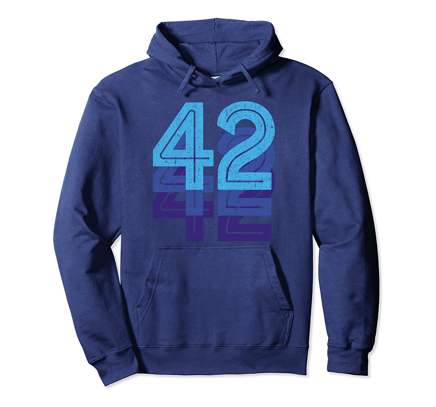 42 Lucky Number 42nd Year Birthday Age Sports Team Vintage Pullover Hoodie
