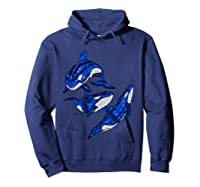 Pod Of Orca Whales T-shirt Hoodie Navy