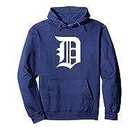 Detroit Baseball D | Vintage Michigan Bengal Tiger Retro Pullover Shirts Hoodie Navy