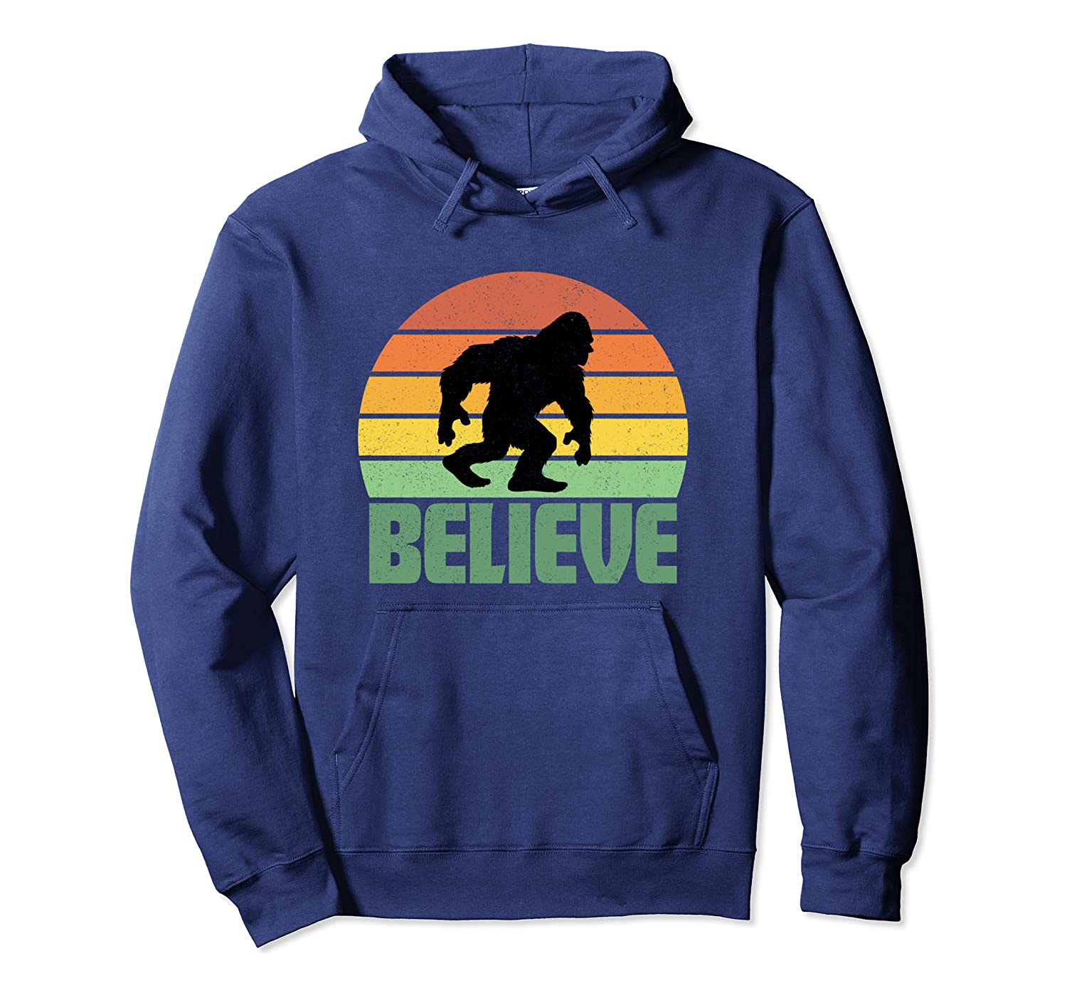 Believe Bigfoot Yeti Funny Retro Sunset Gift Party Present Pullover Hoodie