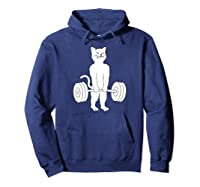 Cat Deadlift Powerlifting Kitty Sweater, Muscle Cat Shirts Hoodie Navy