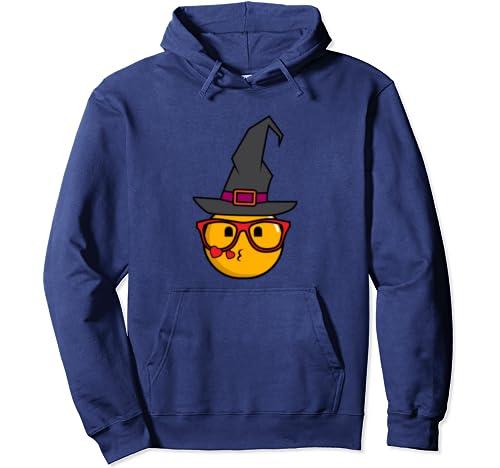 Halloween Witch Nerd Emojis Kiss | Sorcerer Fans Gift Pullover Hoodie