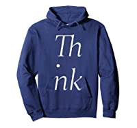 Think Stacked Puzzle Decode Typographic Gift T Shirt Hoodie Navy