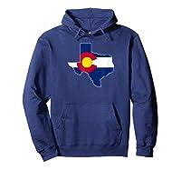 Colorado Flag Texas Outline Texas Colorado Graphic Shirts Hoodie Navy