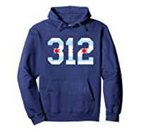 312 Chicago Flag Area Code City Pride T Shirt Hoodie Navy