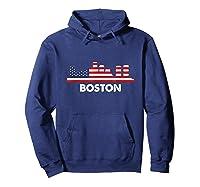 Boston City American Flag Shirt 4th Of July Shirts Hoodie Navy