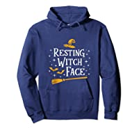 Resting Witch Face Shirt Broomstick Funny Spooky Party Tank Top Hoodie Navy