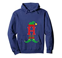 Elf Initial H Matching Family Group Christmas Holiday Gift T-shirt Hoodie Navy