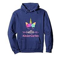 1st Day Of Kindergarten Unicorn Hello Kindergarten Girls Shirts Hoodie Navy
