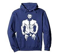Bearded Hunk T-shirt - Gay Bear Interest Hoodie Navy