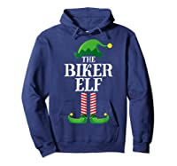 Biker Elf Matching Family Group Christmas Party Pajama T-shirt Hoodie Navy
