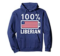 Liberia Flag T Shirt 100 Liberian Battery Power Tee Hoodie Navy