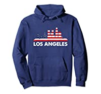 La City American Flag Shirt 4th Of July Shirts Skyline Hoodie Navy