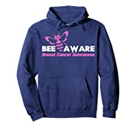 Bee Aware October Is Breast Cancer Awareness Month T Shirt T Shirt Hoodie Navy