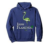 Funky Irish Flamingo Apparel Green Bird St Pattys Day Tshirt Hoodie Navy