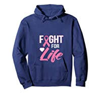 Breast Cancer Awareness Month Gift Fight For Life Warrior T Shirt Hoodie Navy