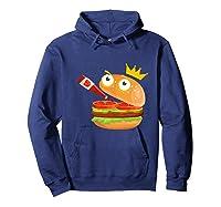 King Hamburger Drinking Tomato Sauce Funny Cartoon Tshirt Hoodie Navy