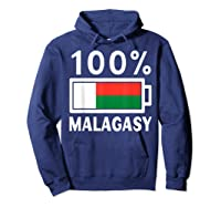 Madagascar Flag T Shirt 100 Malagasy Battery Power Tee Hoodie Navy