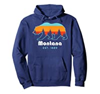Montana 1889 Wilderness Mountain Wildlife Bear Tshirt Hoodie Navy
