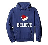 Funny Christmas Xmas Believe Premium T-shirt Hoodie Navy