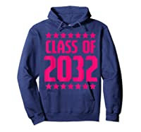 Class Of 2032 Stars Grow With Me First Day Kindergarten Gift T-shirt Hoodie Navy