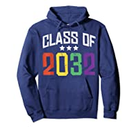 Class Of 2032 Color Stars Grow With Me Kindergarten Gift Shirts Hoodie Navy