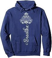 Breathe Mandala Lotus Meditation Yoga T-shirt Om Breathing T-shirt Hoodie Navy