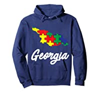 Autism Awareness Day Georgia Puzzle Pieces Gift Shirts Hoodie Navy