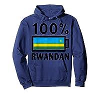 Rwanda Flag T-shirt   100% Rwandan Battery Power Tee Hoodie Navy
