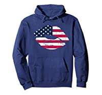 Cool Lips With American Flag Girl 4th Of July Gift Shirts Hoodie Navy