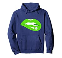 Funny Saint Patricks Day T With Lips And Shamrock Shirts Hoodie Navy