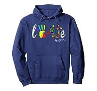 Colorful Love Gaga Life T Shirt Hoodie Navy