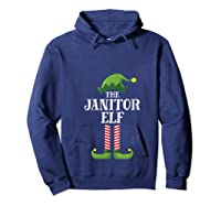 Janitor Elf Matching Family Group Christmas Party Pajama T-shirt Hoodie Navy