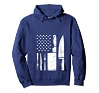Chef Cooking American Flag Vintage Culinary Chefs Gifts T Shirt Hoodie Navy